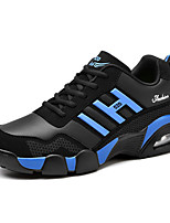 Women's Athletic Shoes Spring Fall Mary Jane PU Outdoor Athletic Flat Heel Lace-up Blue Black and Red Black and White Walking