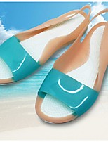 Women's Sandals Summer Jelly Shoes PVC Outdoor Flat Heel Blue Brown White Fuchsia Walking