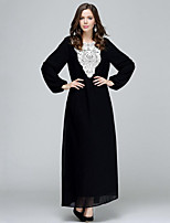 Women's Plus Size Vintage Chiffon Dress Long Sleeve Red / Black / Green Polyester Fall Mid Rise Micro-elastic