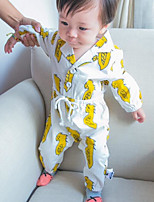 Baby Casual/Daily Solid Clothing Set-Cotton-Fall-White / Yellow