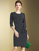 Women's Plus Size / Going out Vintage / Simple Bodycon DressStriped Round Neck Knee-length  Sleeve Blue Polyester
