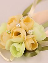 Bouquets de Noiva Redondo Rosas Buquê de Pulso Casamento / Festa / noite Cetim / Enfeite 3.15
