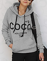 Women's Casual/Daily Vintage Regular HoodiesLetter White / Gray Hooded Long Sleeve Polyester All Seasons Thin