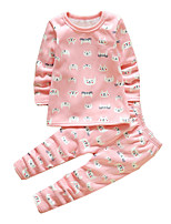 Girl's Casual/Daily Print Clothing SetCotton Winter Pink