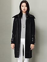 Xuebao Women's Casual/Daily Simple Fur CoatSolid Cowl Long Sleeve Fall / Winter Black Wool Thick