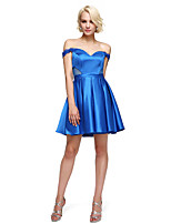 2017 ts couture® Cocktailparty Kleid a-line off-the-Schulter kurz / Mini-Stretch-Satin mit Appliques / Sicken