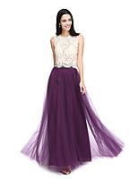 2017 לנטינג מהרצפה אורך תחרה / טול bride® לראות דרך שמלת השושבינה - תכשיט א-קו עם תחרה