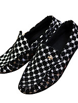 Men's Loafers & Slip-Ons Spring / Fall Moccasin / Comfort Fabric Casual Flat Heel Silver / Black and Gold Walking