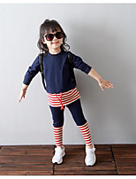 Girl's Casual/Daily Striped Clothing SetCotton Spring / Fall Blue