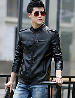 Men's Casual/Daily Simple Jackets,Solid Stand Long Sleeve Fall / Winter Black / Brown Others Medium