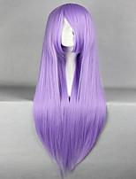 promoción de Saint Seiya Saori Kido Athena 80cm peluca cosplay del anime púrpura recta larga