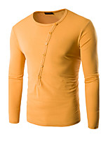 Men's Going out / Casual/Daily / Holiday Simple Spring / Fall Solid Round Neck Long Sleeve T-shirt