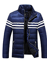 Пальто Простое Длинная Пуховик Мужчины,Однотонный На каждый день Полиэстер Полиэстер,Длинный рукав Синий / Красный / Черный