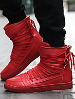 Men's Sneakers Fall Winter Comfort PU Casual Flat Heel Lace-up Black Red White