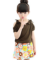 Girl's Casual/Daily Floral Dress / Clothing SetCotton Summer Green / White