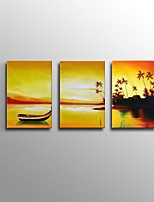 Hand-Painted Abstract Golden Evening Seascape Oil Painting For Home Decoration Stretched Frame Ready To Hang