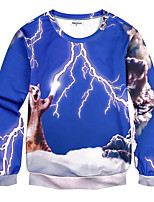 Men's Print Casual / Plus Size SweatshirtPolyester Long Sleeve Blue