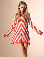 AOKNI Women's Round Neck Long Sleeve T Shirt Pink / Orange-219