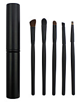 5 Makeup Brushes Set Horse / Synthetic Hair Professional / Portable Wood Eye / Lip Black
