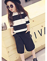 Girl's Casual/Daily Striped Clothing SetCotton Spring Black