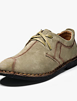 Men's Flats Spring / Fall Comfort Pigskin Casual Flat Heel Lace-up Blue / Gray / Khaki Others
