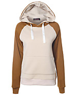 Women's Casual/Daily Simple / Active Regular Hoodies,Color Block Blue / Brown / Gray / Yellow Hooded Long Sleeve Cotton Fall / Winter