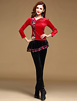 Latin Dance Outfits Training Velvet Ruffles 2 Pieces Long Sleeve Natural Top / Pants