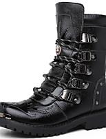 Черный-Мужской-Для прогулок Повседневный-Синтетика-На толстом каблуке-В ковбойском стиле-Ботинки
