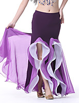 Belly Dance Bottoms Performance Crystal Cotton Ruffles 1 Piece Sleeveless Dropped Skirt