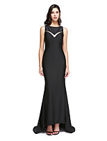 TS Couture® Formal Evening Dress - Elegant Sheath / Column Jewel Sweep / Brush Train Jersey with Appliques / Beading