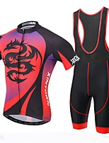 XINTOWN Men's Short Sleeve Cycling Jerseys And Bib Padded Biking Shorts Set MTB Red