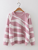 Women's Casual/Daily Street chic Regular Pullover,Animal Print Pink / Black / Gray / Green Round Neck Long Sleeve Cashmere / Polyester
