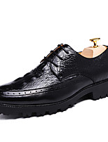 Men's Oxfords Spring Fall Mary Jane Patent Leather Office & Career Casual Party & Evening Flat Heel Lace-up Black Brown Burgundy Walking