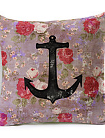 Polyester Decorative Cushion Pillow Cover Print Flower Anchor Sofa Home Decor 45x45cm