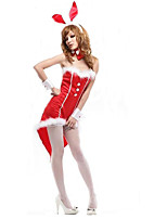 Cosplay Costumes Santa Suits / Bunny Girls Movie Cosplay Red / Black Solid Dress / Cravat / Headwear Halloween / Christmas / Carnival