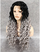 IMSTYLE 26''High Quality Long Grey Curly Synthetic Wigs Lace Front High Resistant  Black Root
