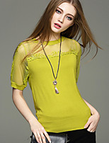 Women's Going out / Casual/Daily / Holiday Simple / Cute / Street chic Regular Pullover,Solid Blue / White / Yellow Round NeckShort