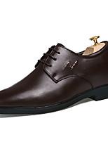 Черный / Коричневый-Мужской-На каждый день-Кожа-На плоской подошве-Удобная обувь-Туфли на шнуровке