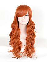 bruns ondulés longue cosplay résistant à la chaleur de perruques de belles femmes