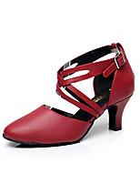 Customizable Women's Dance Shoes Leather Leather Latin Sandals Low Heel Practice / Beginner / Professional / Indoor / PerformanceBlack /