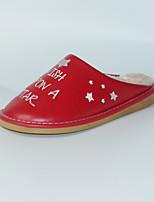 Damen-Slippers & Flip-Flops-Lässig-PU-Flacher Absatz-Fersenriemen-Rot