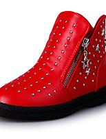 Girl's Boots Fall Winter Comfort Leatherette Dress Casual Flat Heel Rivet Zipper Black Red Walking