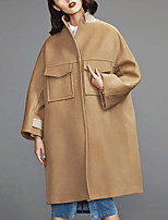 Chocolatone Women's Casual/Daily Simple CoatSolid Stand Long Sleeve Fall / Winter Beige Wool Medium