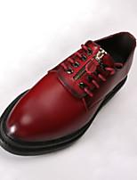 Черный / Красный-Мужской-Для офиса / На каждый день-Кожа-На плоской подошве-Туфли Мери-Джейн-Туфли на шнуровке