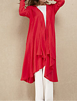 Cynthia Women's Casual/Daily Vintage Spring / Fall ShirtSolid V Neck Long Sleeve Red Cotton / Linen Thin