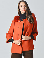 CANTO MOTTO Women's Going out Simple CoatSolid Round Neck  Sleeve Fall Orange Wool / Fox Fur Opaque / Thick
