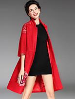 Женский На каждый день / Большие размеры Вышивка ПальтоШинуазери (китайский стиль) Осень / Зима Красный / Черный / Зеленый Длинный рукав,
