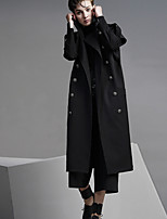 DL.FANG Women's Going out / Casual/Daily Simple Trench CoatSolid Shirt Collar Short Sleeve Fall Black Polyester Thick