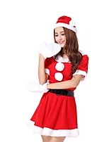 Christmas Costume /Holiday Halloween Costumes Red Solid Skirt / Gloves / Belt / Hats Christmas Female