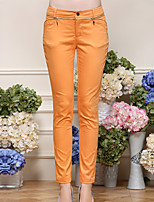 I'HAPPY Women's Solid Blue / Black / Orange Slim PantsSimple All Seasons